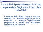 i controlli dei provvedimenti di carriera da parte della ragioneria provinciale dello stato