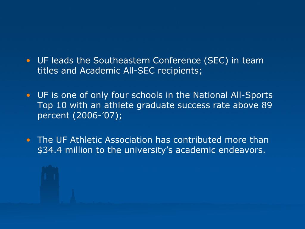 UF leads the Southeastern Conference (SEC) in team titles and Academic All-SEC recipients;