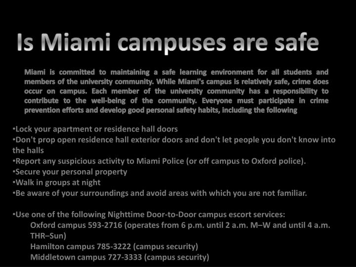 Is Miami campuses are safe