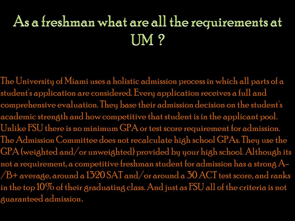 As a freshman what are all the requirements at UM  ?