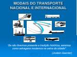 modais do transporte nacional e internacional