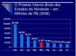 o produto interno bruto dos estados do nordeste em milh es de r 2006
