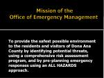 mission of the office of emergency management