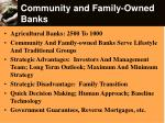 community and family owned banks