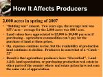 how it affects producers
