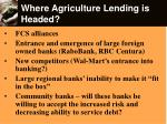 where agriculture lending is headed