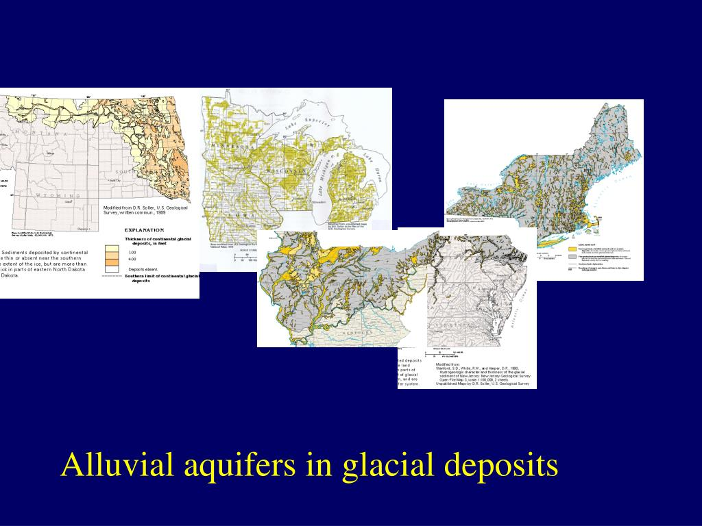 Alluvial aquifers in glacial deposits