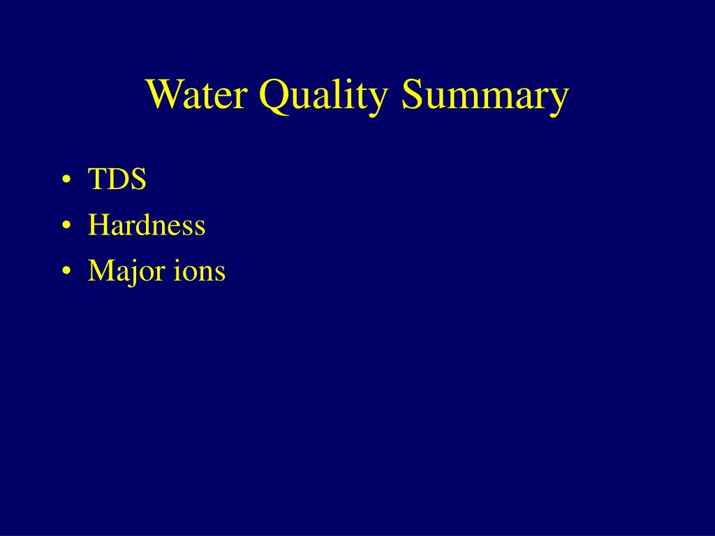 Water Quality Summary