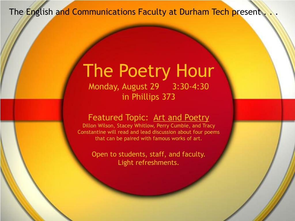 the english and communications faculty at durham tech present l.