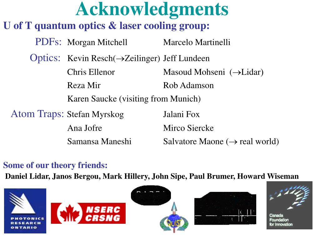 U of T quantum optics & laser cooling group: