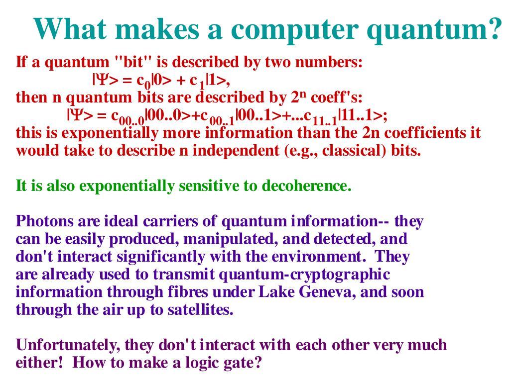 What makes a computer quantum?