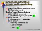 punishments in transition from old world penitentiary