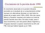 crecimiento de la presi n desde 1990
