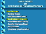 choice theories and resulting crime elimination strategies