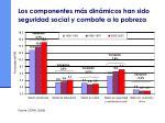 los componentes m s din micos han sido seguridad social y combate a la pobreza
