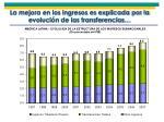 la mejora en los ingresos es explicada por la evoluci n de las transferencias