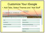 customize your igoogle