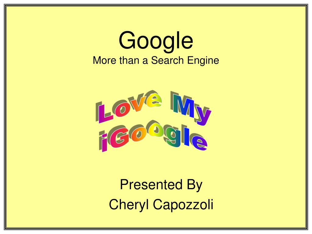 google more than a search engine l.