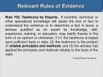 relevant rules of evidence32