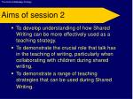 aims of session 2