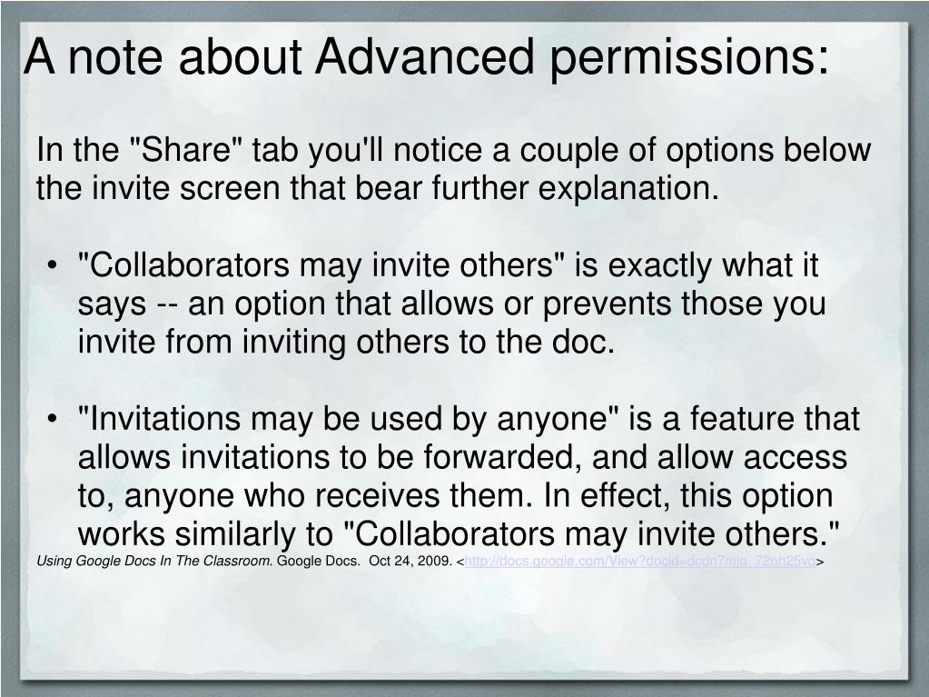 A note about Advanced permissions:
