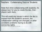 teachers collaborating docs w students