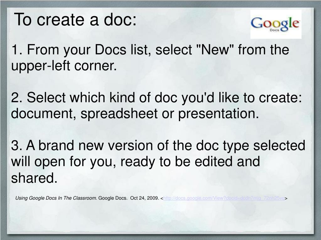 To create a doc: