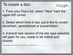 to create a doc