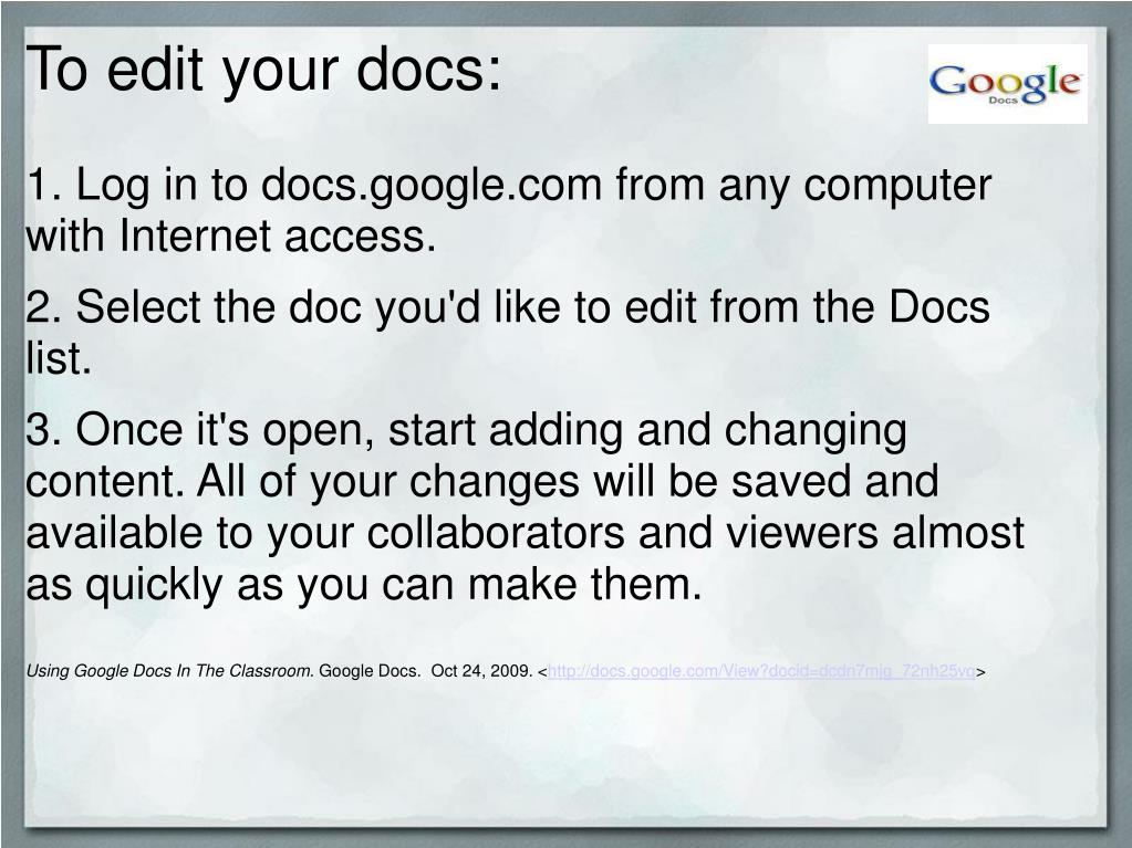 To edit your docs: