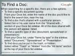 to find a doc