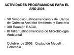 actividades programadas para el a o 2006