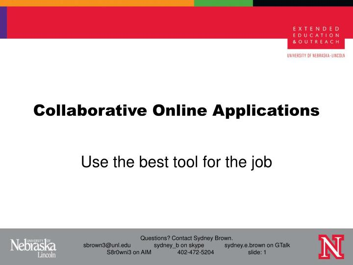 Collaborative online applications