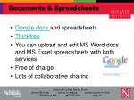 documents spreadsheets