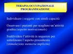 terapia occupazionale programmazione
