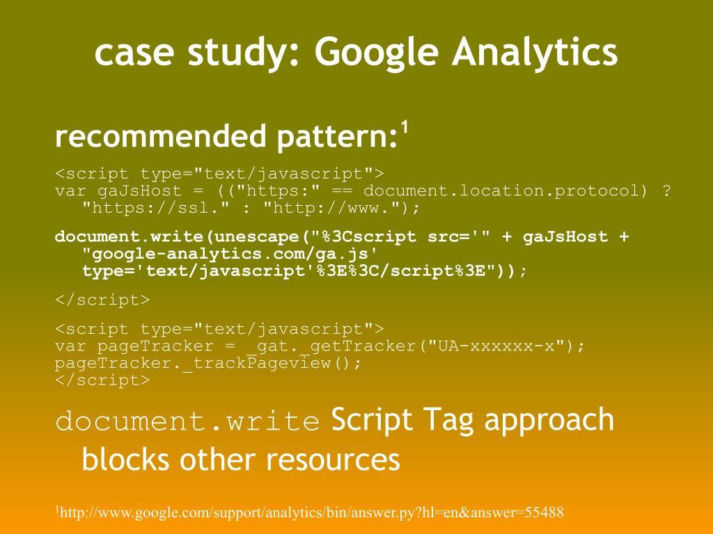 case study: Google Analytics