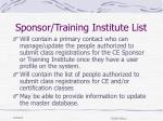 sponsor training institute list