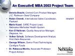 an executive mba 2003 project team