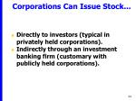 corporations can issue stock