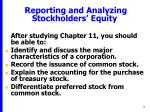reporting and analyzing stockholders equity