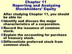 chapter 11 reporting and analyzing stockholders equity