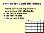 entries for cash dividends