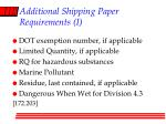 additional shipping paper requirements i