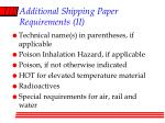 additional shipping paper requirements ii
