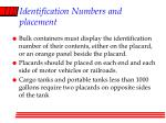 identification numbers and placement