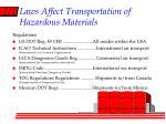 laws affect transportation of hazardous materials