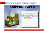 review a sample shipping paper