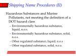 shipping name procedures ii