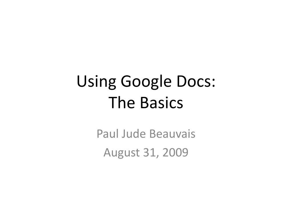 using google docs the basics l.