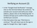 verifying an account 2