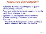 architecture and functionality